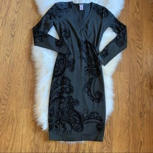 Cache Gray Bodycon Wrap Lined Dress size Small